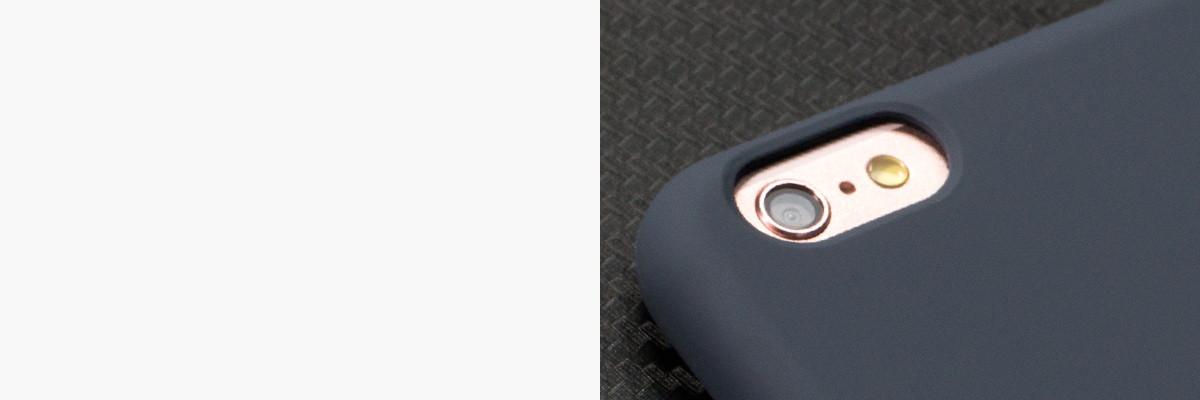 Perfekcyjnie wycięty otwór na aparat w silikonowej obudowie na tył iPhone 6/6s 4.7