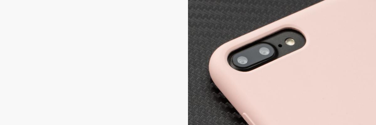 Perfekcyjnie wycięty otwór na aparat w silikonowej obudowie na tył iPhone 8 Plus / iPhone 7 Plus